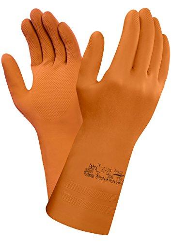 Ansell 87-955/7.5-8 Extra Caucho natural guante, Protección contra productos químicos y líquidos, Tamaño 7.5-8, bolsa de 12 pares, Naranja
