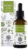 Vitamin D3 + K2 Tropfen 50ml. Pflanzlich & vegan. Premium: D3 aus Flechten & VitaMK7 von Gnosis. 1000 IE Vitamin D3 + Vitamin K2 MK-7 99% All Trans. Flüssig, hochdosiert, hergestellt in Deutschland