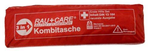 RAU EH0008 Trio Kombitasche Erste Hilfe Nach DIN13164 (Neueste Ausgabe) mit Warndreieck Ece und Warnweste EN20471, Rot