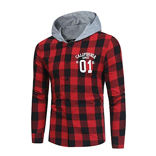 FRAUIT Hemd Herren Langarm Plaid Button Freizeit Party Männer Herbst Winter Warm Atmungsaktiv Bequem Shirt Top Bluse 100% BaumwolleS-XL