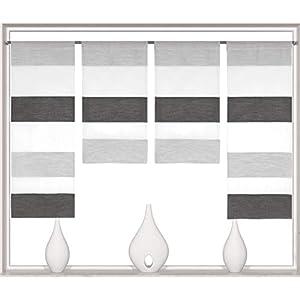 Decocompany Home Design Mini Flächenvorhang Set anthrazit 2291 | 4 Teile | Scheibengardine Gesamtbreite 120cm (4x30cm…