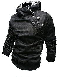 Hoher Kragen Kapuzenpullover mit schrägem Reißverschluss Sweatshirt SlimFit Pulli (M, Schwarz)