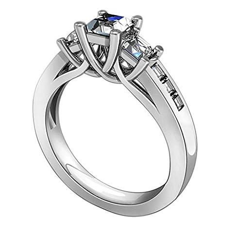 AMDXD Schmuck 925 Sterlingsilber Damen Maßgeschneidert Ringe (mit Gratis Gravur) 4-Klaue 3 Verbindung CZ Größe 49 (15.6)
