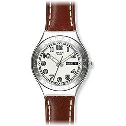 Swatch Unisex-Armbanduhr Casse-Cou Analog Quarz Leder YGS732