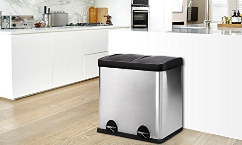 Evre-Recycling-Bin-with-Lids-for-Kitchens-60-Litre-Capacity-2-Compartments-Waste-Separation