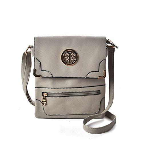 Premium Leather - Borsa a tracolla bambina donna unisex adulto Grey