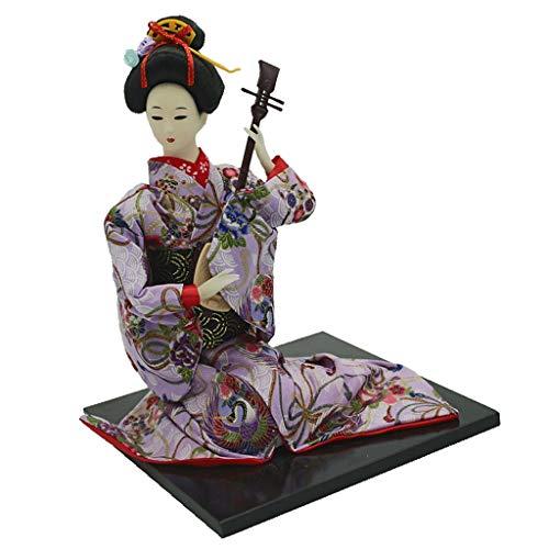 Fenteer 16 Zoll Traditionelle Japanische Geisha Puppe mit Kimono Outfit Dekofigur Handwerk - # 2