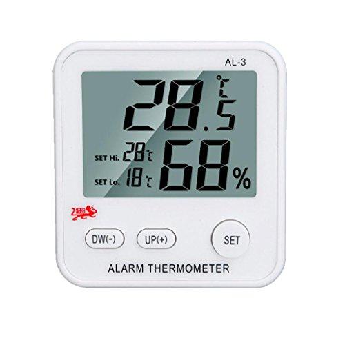Winkey Mini LCD Digital Temperatur Luftfeuchtigkeit Meter Uhr Wecker Thermometer Hygrometer (weiß)
