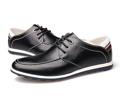 GRRONG Herrenlederschuhe Freizeit Mode Schwarz Braun Blau Black