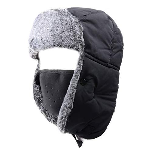 ccb15a4de47 Azarxis Unisex Winter Trooper Hat Caza Ushanka Sombrero Ruso Cap Ear Flap  Chin Correa con máscara