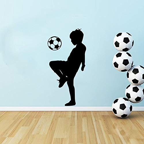 WWYJN Little Boy Football Wallstickers Wallpaper for Boys Kids Room Decoration Vinyl Wall Sticker Bedroom Decor Soccer Mural Decals Gray XL 43cm X 86cm - Wallpaper Hot Rod