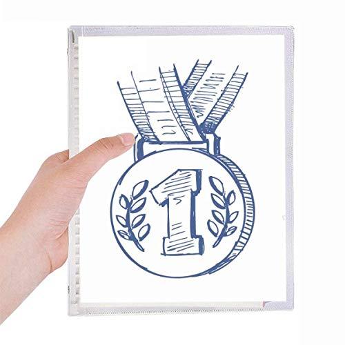Blue Football Championship Medal Notebook Loose-leaf Spiral Refillable Journal
