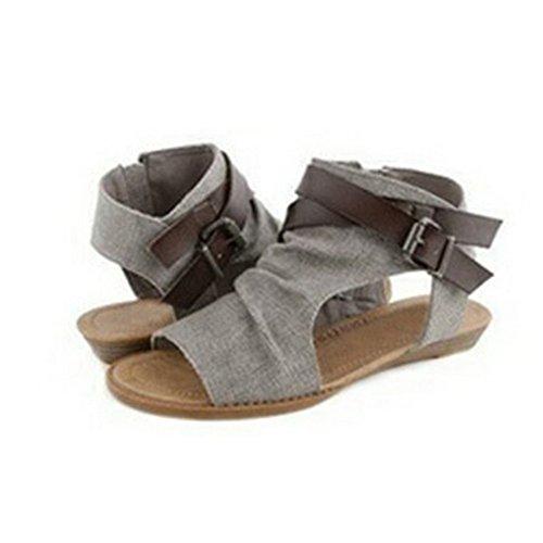 Vertvie Damen Offene Sandalen Weinlese Sandalen Flache Schuhe Knöchelriemen Sandalen(Größe 42,Grau)