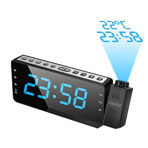 """SZMDLX Projektionswecker, UKW Radiowecker mit Temperaturanzeige, 3 Weckrufe für den Alarmton, 7,5\""""große LED Anzeige und Dimmer, USB Aufladung, Batterie Backup für Kinder, Schwere Schläfer"""