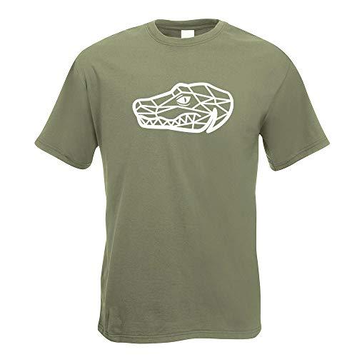 Kiwistar Krokodil Alligator Polygon T-Shirt Motiv Bedruckt Funshirt Design Print Krokodil Alligator