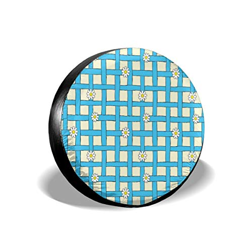 BBABYY Tire Cover Tire Cover Wheel Covers,Cartoon Style Grid Design with Blue Labyrinth Lines and Daisies,for SUV Truck Camper Travel Trailer Accessories 16 inch