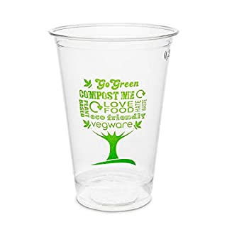 50 x Clear Disposable Cups | 100% compostable & Biodegradable | Strong Disposable Tumblers Suitable for Cold Drinks | PLA Organic Cups | Eco-Friendly Disposable Tableware for Parties (8oz (250ml))