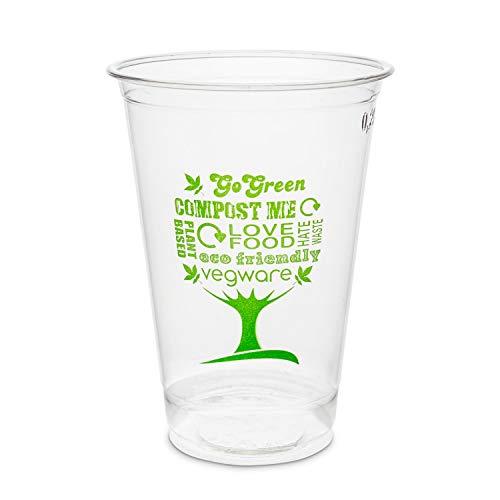 50 x Gobelets jetables transparent | Vaisselle à usage unique | Écologique et biodégradable | Verres jetables en PLA pour boissons froides | Tasses idéal pour les fêtes et les barbecues