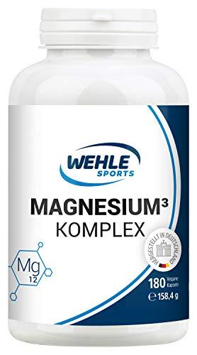 Premium Magnesium Komplex - 2250mg davon 375mg elementares Magnesium Hochdosiert pro Tagesdosis - 180 Vegane Kapseln - Magnesiumbisglycinat Magnesiumcitrat Magnesiummalat