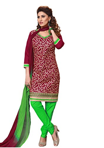 Oomph! Women's Cotton Unstitched Embroidered Salwar Suit Dupatta Dress Material, Jam Red