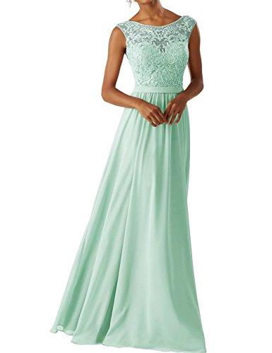 Frauen Chiffon Brautjungfer Kleider Sleeveless Lange Prom Abendkleider Minze Größe 36