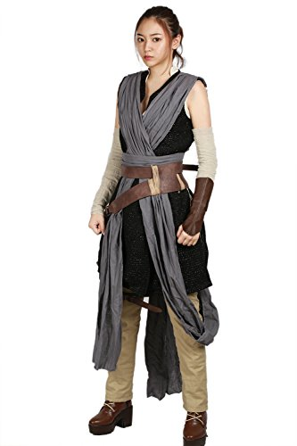 Nexthops Rey Kostüm Damen Cosplay Costume aus Star Wars:The Force Awakens Deluxe 9er Anzug Set Deluxe Film Zubehör
