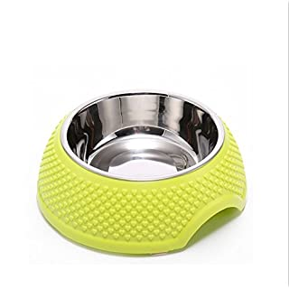 AsentechUK® Stainless Steel Pet Dog Cat Puppy Bowl Food Water Feeder Dish Rubber Ring Skid Design Pet Feeding Supplies (Green)