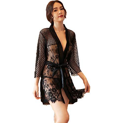 GOUDAN Frauen Sexy Dessous, Maid Cosplay Kostüm Naughty Cute Lace Dress Dessous Schwarz