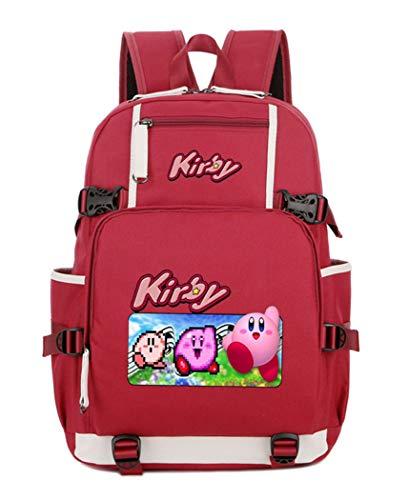 Cosstars Kirby Spiel Backpack Schüler Schultasche Laptop Rucksäcke Freizeittasche Daypack Rot-4 (Rucksack Kirby)