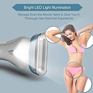 Brori Electric Lady Shaver - Womens Razor Bikini Trimmer for Women Legs Underarms Public Hair Wet and Dry Rechargeable Waterproof Cordless with LED Light