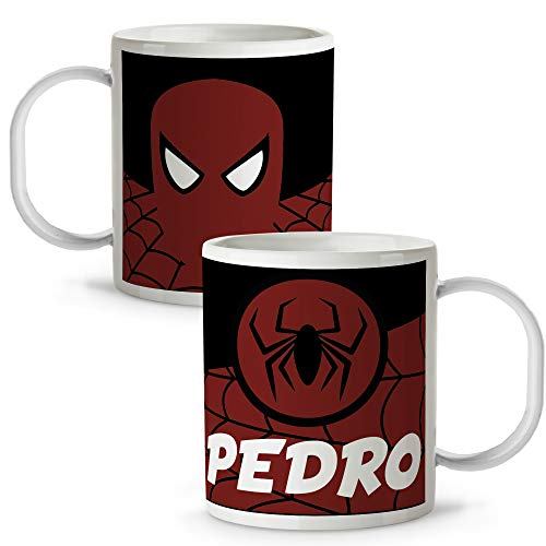 Lolapix Taza plástico Personalizada Spiderman con Nombre. Superheroes. Friki. Varios diseños.