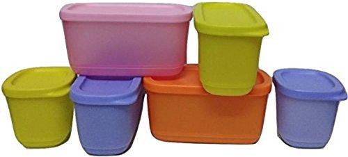 Tupperware Cubix Set Of 6 (Multicolor) - 1220 Ml Plastic Multi-purpose Storage Container (Pack Of 6, Multicolor)
