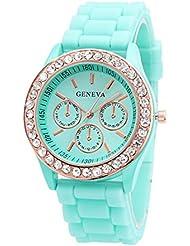 Reloj de mujer - GENEVA Reloj de pulsera de jalea de cuarzo de piedra de cristal de mujer de silicona Verde menta