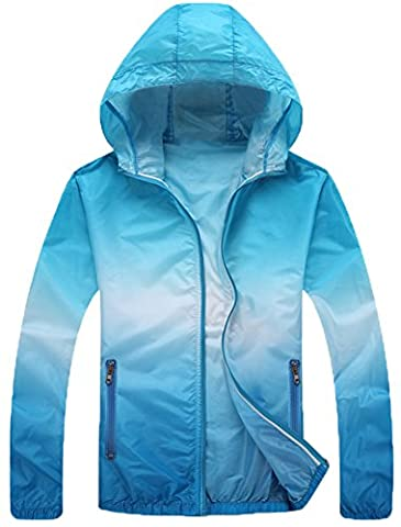 Mochoose Women's Super Lightweight Outdoor Hoodie Packable Jacket Quick Dry Windbreaker Breathable UV Protect Skin Coat(Blue,M)