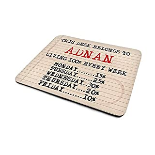 Adnan 'Giving 100% Every Week', Funny Personalised Mouse Mat, Retro Typewriter Style Design, Size 230mm x 180mm x 5mm.