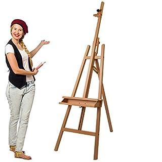Artina Leinwand-Staffelei Barcelona - Holz-Staffelei aus Buchen-Holz - Natur Künstler Staffelei für Keilrahmen bis 120 cm mit Doppelauflage