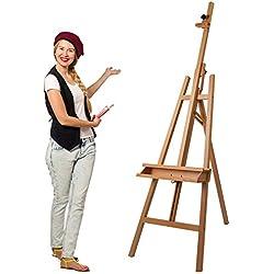 Artina Akademie-Staffelei Barcelona Buche-Holz Profi Künstler-Bedarf für Keilrahmen Größe bis 120cm mit Doppelauflage