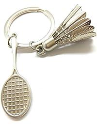 Kolossalz Silver Badminton Metal Keyring & Keychain