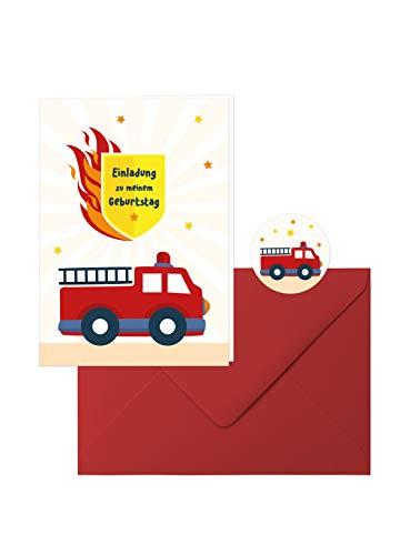 hr-Geburtstag: 10 Zauberhafte Einladungs-Klappkarten zum Kindergeburtstag im tollen Feuerwehr-Design mit roten Umschlägen, dazu 10 runde Aufkleber mit der kleinen Feuerwehr ()