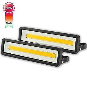 Lote de 2 Focos LED exteriores 50W 4000LM, Potente LED para exteriores IP66, Luz de seguridad blanca cálida 3000K para terraza, Jardín, Patio, Parque, Garaje [Clase de eficiencia energética A +]