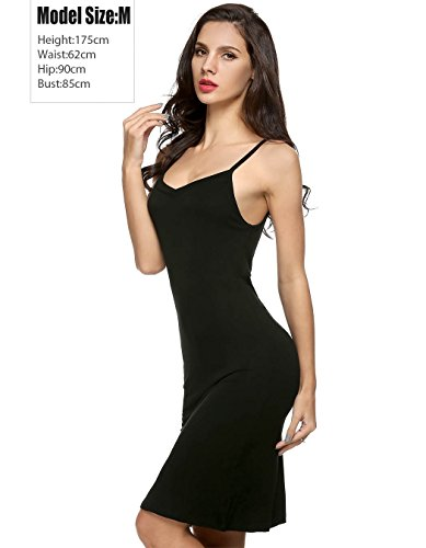 Bluetime - Pigiama abito da donna sexy con scollo a V spaghetti strap aderente Black