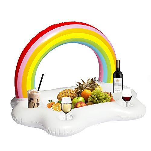 Rainbow-pools, Spas (TechCode Infactory Aufblasbarer Getränkehalter, Rainbow Cloud Drink schwimmt am Pool Beach Leisure Cup Spa Bar Kühler Rettungsring-Look Aufblasbare Tisch für Getränke und Snacks für Pool Party)