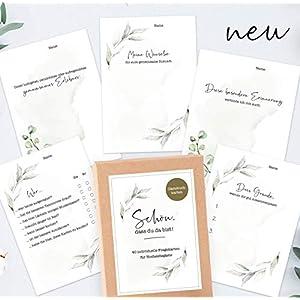 40 Gästebuch-Karten für die Hochzeit mit Box – DIN A6 / Schön, dass du da bist-Karten/Hochzeitsgeschenk/Hochzeitsspiel/Eukalyptus & Greenery
