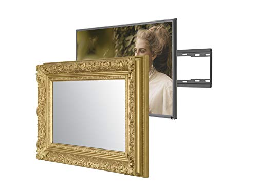 Handmade Framed Mirror TV with Samsung to Blend This Hidden Mirrored Television into Your Home or Business Decor (32 Inch, Barbican Gold)