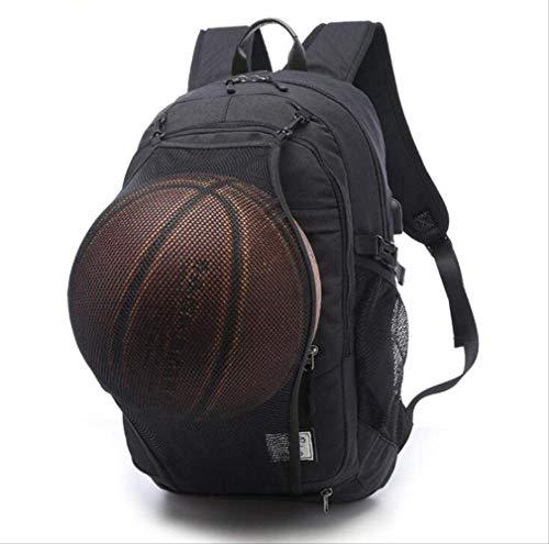 Sporttasche WEN FENG Outdoor Herren Sport Gym Taschen Basketball Rucksack Schultaschen Für Teenager Jungen Fußball Ball Pack Laptop Tasche Fußball Net Gym Bag 30 X 15 X 48 cm Schwarz mit Netz (Billig Damen The North Face)