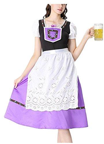 Mädchen Pin Up Halloween Kostüme Retro (SHUNLIU Damen Dirndl Trachtenkleid Oktoberfest Maxikleid Karneval Cosplay Kostüm Halloween Maid Lang Kleider Restaurant)