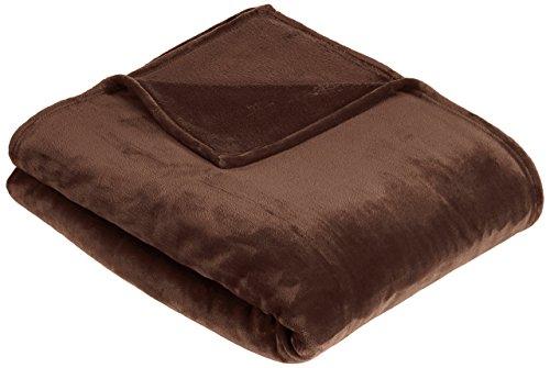 AmazonBasics - Manta suave con tacto de terciopelo, Doble,  marrón