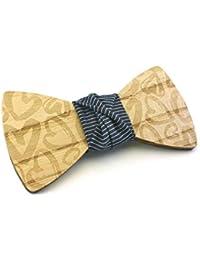 """GIGETTO Papillon in legno fatto a mano con nodo in tessuto a righe blu. Farfallino accessori moda matrimonio cerimonia. Cinturino regolabile in stoffa. Edizione limitata serie """"Pattern""""."""