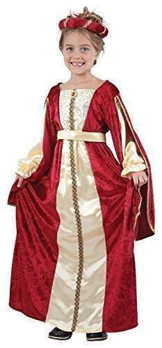 Fancy Me Mädchen-rot Reich Schick Mittelalter Tudor Prinzessin Kostüm Kleid Outfit 4-14 Jahre - Rot, 7-9 Years