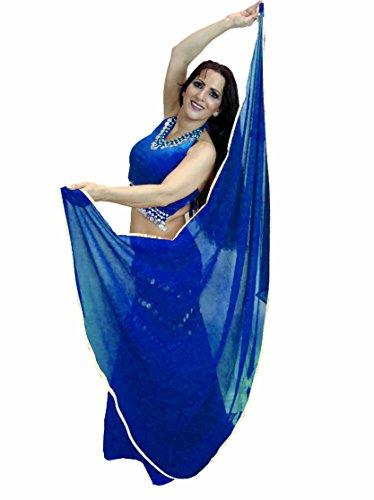 Bailarines Mundo Silver getrimmte semicírculo Veils Danza del Vientre–Disfraz Veil de embalaje–(Rojo), color azul cobalto, tamaño Talla única